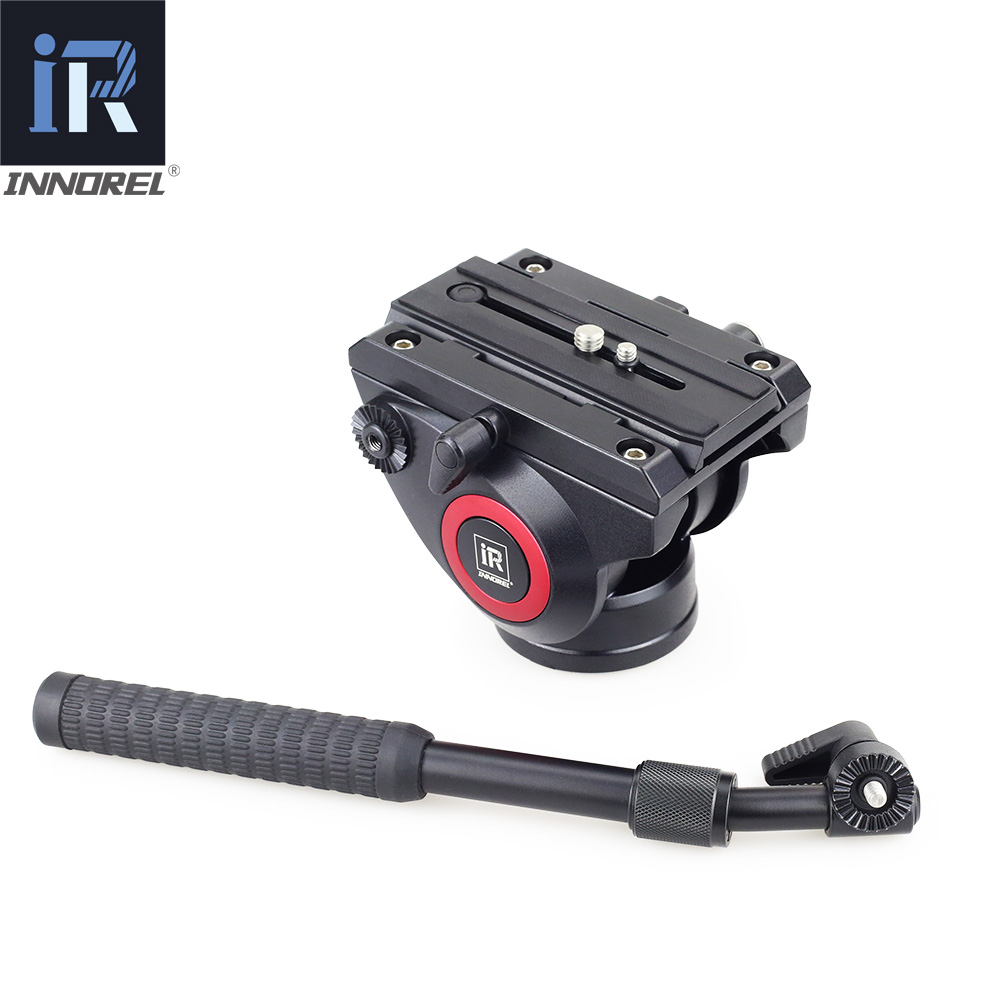 H80 Video Fluid Head Damping for DSLR Tripod Monopod Manfrotto 501PL Bird Watching 2 sections handle Panoramic head 360 aluminum tripod fluid head with quick release sliding plate video fluid head hydraulic damping monopod for manfrotto 501pl dslr