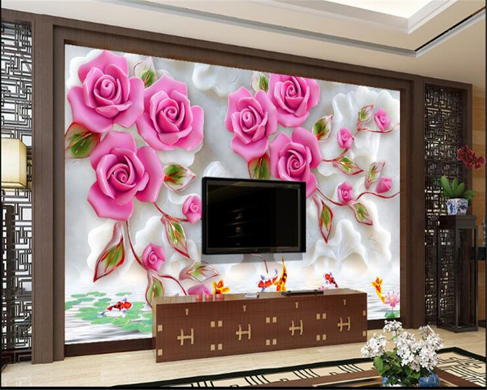 beibehang papel de parede high-rise wallpaper modern aesthetic background wall three-dimensional luxury flower backdrop wall