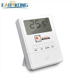 Новый детектор температуры Earykong 433 МГц беспроводной, с ЖК-экраном, 1527 чипов, дисплей в реальном времени, для домашней охранной сигнализации