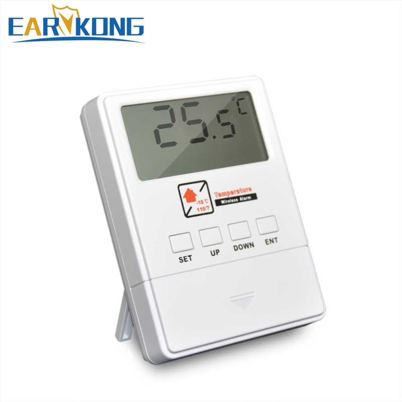 Nouveau détecteur de température Earykong 433MHz sans fil, avec écran LCD, 1527 puces, affichage en temps réel, pour système d'alarme antivol à domicile