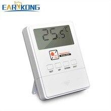 Novo detector de temperatura earykong 433 mhz sem fio, com tela lcd, 1527 chips, exibição em tempo real, para sistema de alarme de assaltante em casa