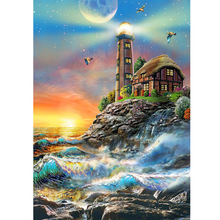 Seaside lighthouse diamond Embroidery diy painting mosaic diamant 3d cross stitch picture H435