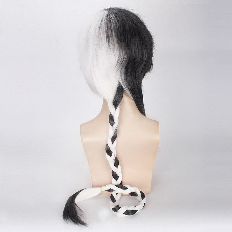 120cm Vocaloid Black White Cosplay Wig Men Synthetic Braiding Hair Anime Halloween Costume Party Wigs