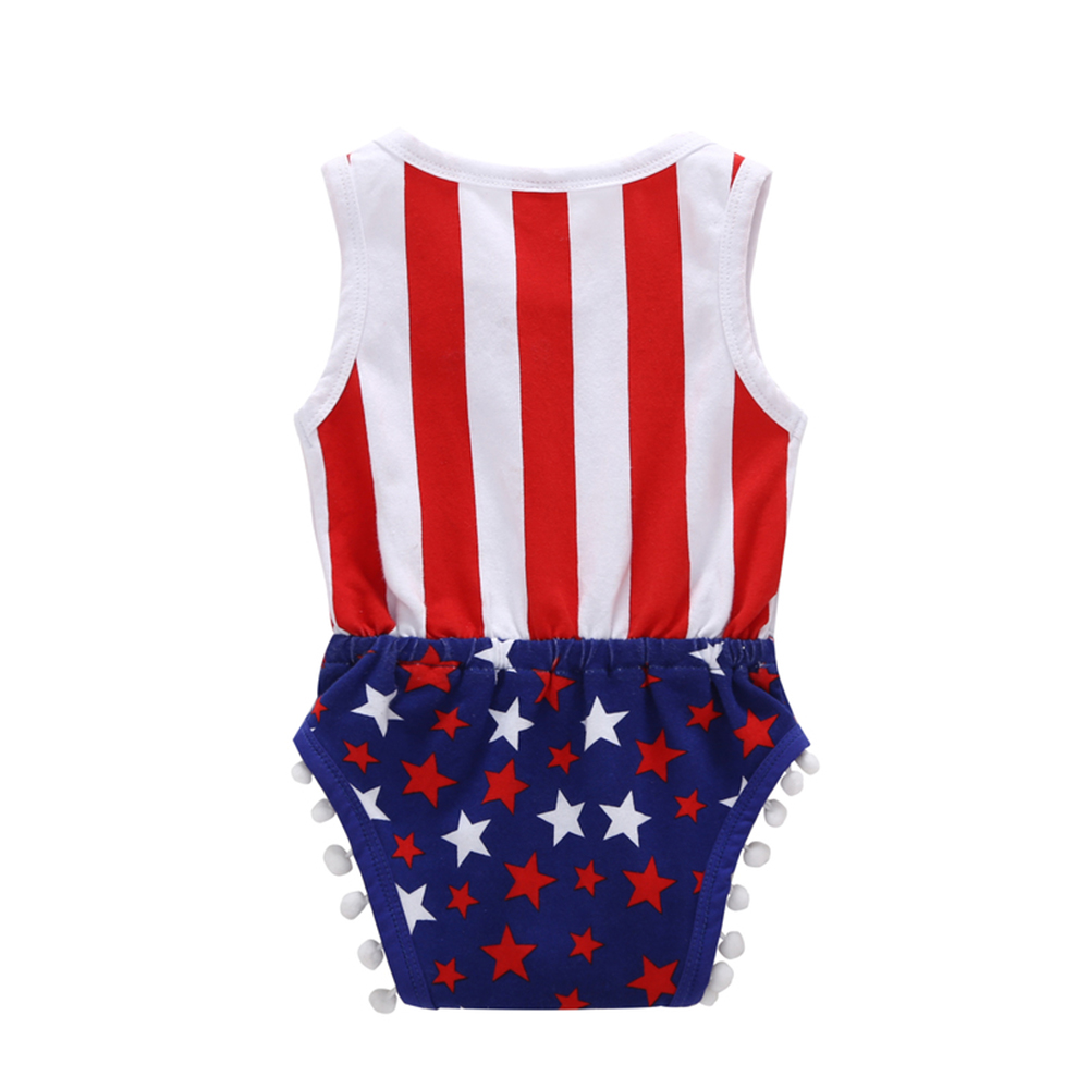 Baby Stars Printed Sleeveless Bodysuits America Flag Stripe Star Print Onesies Decorated with Pompon Tassels Jumpsuit Strips