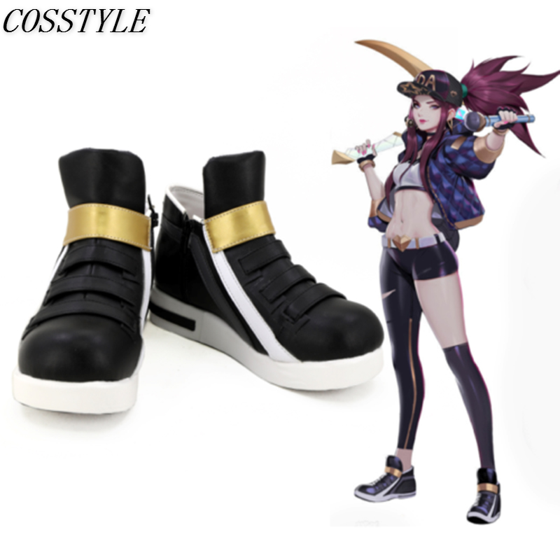 KDA Akali Cosplay Shoes LOL AKALI Cosplay Women Shoes Game LOL K/DA Akali Cosplay Boots Black Color Custom Made