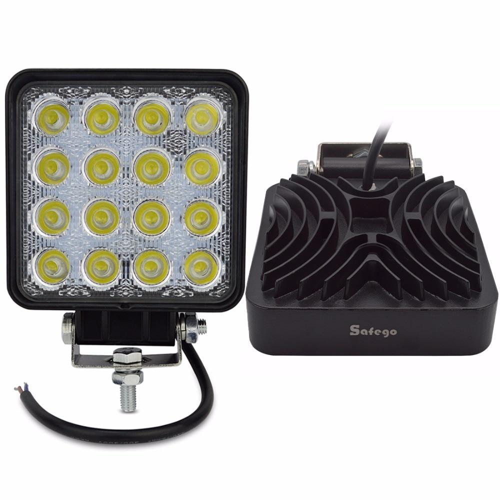 цена Safego 2X 4 Inch 48W LED Work Light lamp Indicators Led working Lights Driving Offroad For Boat Tractor Truck 4x4 12V spot flood