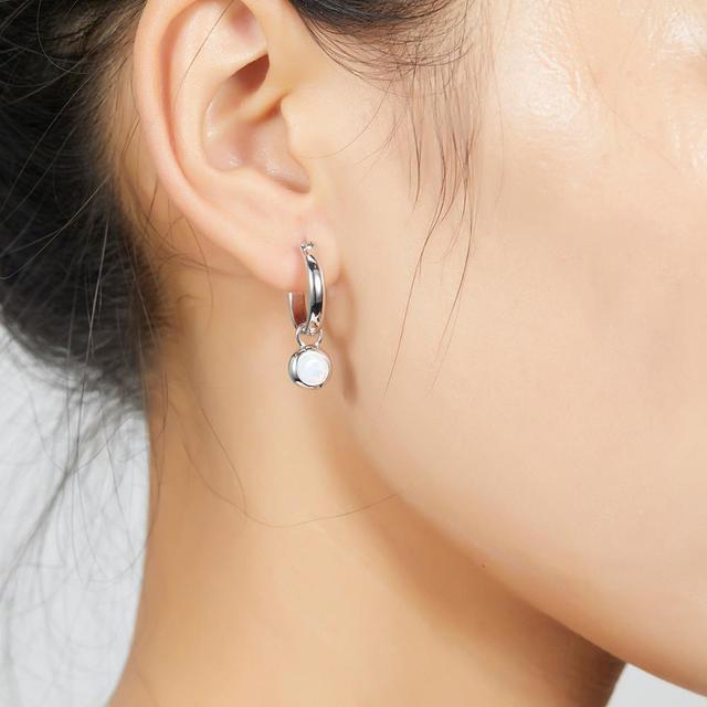 Hutang Silver Earrings 925 Jewelry Opal Gemstone Fine Clip Earrings for Women Sterling Silver Fine Elegant Classic Jewelry