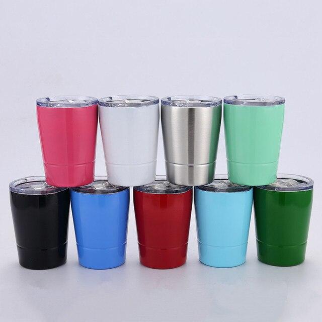657c5d5e388 20pcs 8.5oz wine tumbler wine glasses Stainless Steel mugs Travel Vehicle  Beer Mug non-Vacuum Insulated mugs straws kids cups