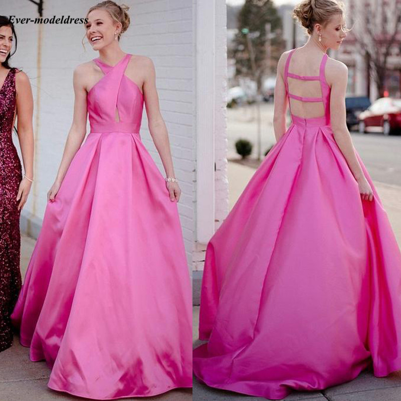 Fuchisa Sexy   Prom     Dresses   2019 Floor Length A-Line Simple Formal   Dresses   Party Gowns Satin Customized Vestidos De Festa