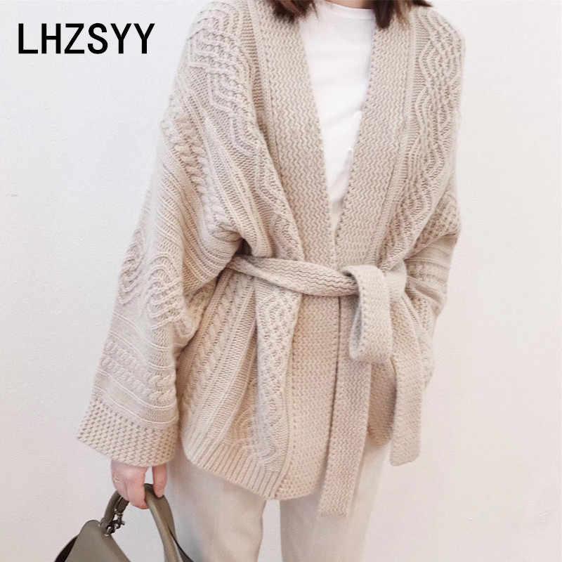 LHZSYY/осенне-зимний новый женский кашемировый кардиган, модный однотонный, высокое качество, плотное пальто, мягкий шерстяной кардиган, женский свитер