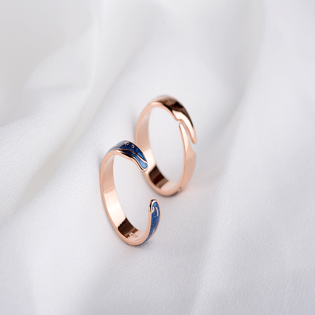 Qevila Hot Fashion Rings Plated S925 Silver Van Gogh Starry Sky Open Lover Ring 4