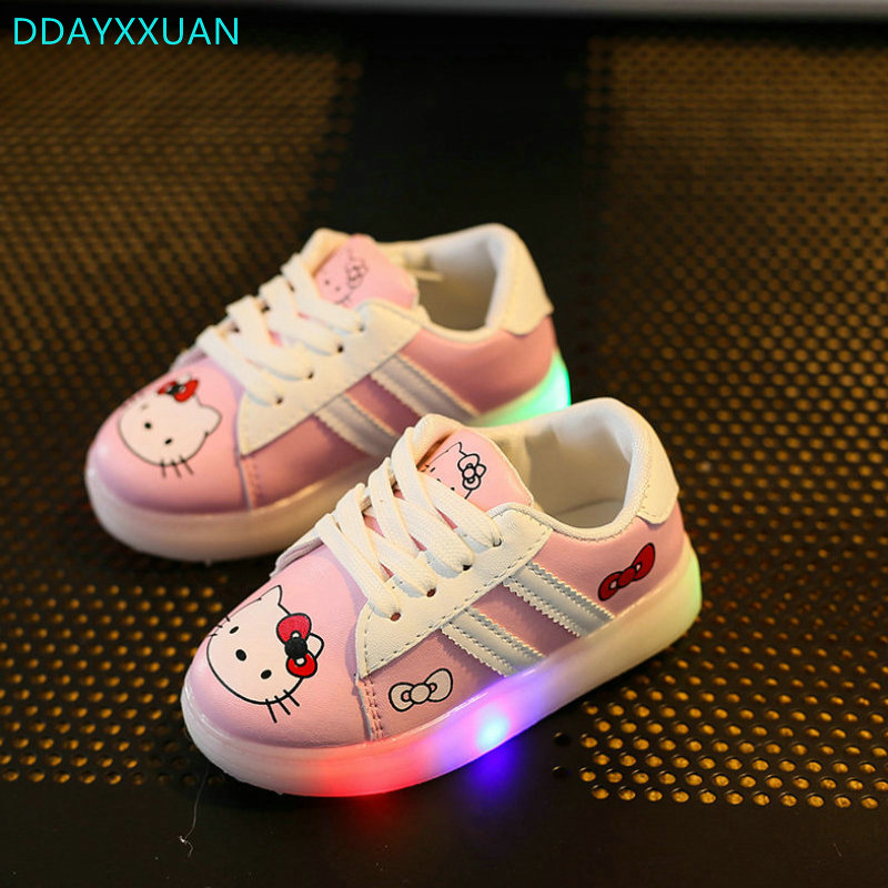 Children LED Shoes 2018 New Brand spring girls fashion sneakers kids light sports white shoes Printed Cartoon Shoes with lights ...