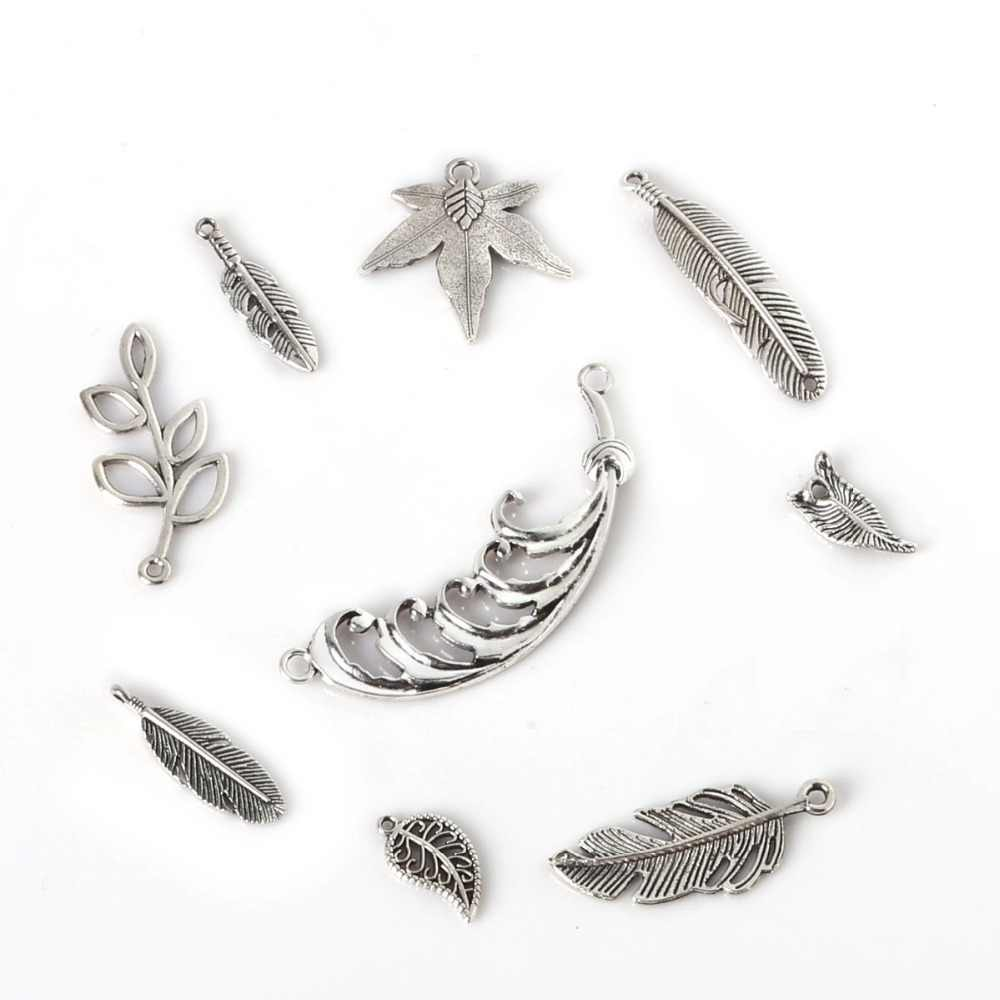 Mini Charms Antique Silver Branches Leaves Feather Shape Pendant Handmade Hanging Crafts for DIY Fashion Vintage Choker Necklace