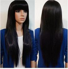 100%Free shipping New High Quality Fashion Picture Indian Mongolian wigs>>Ladies New sexy Short Straight Black wig Natural Hair 2017 new free shipping fashion black color slim straight leisure