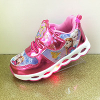 Girls Cartoon Sneakers With Lights Autumn Winter New LED Fashion Children Kids Anna Princess Casual Shoes
