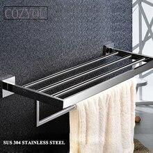 Длина 60 см sus 304 из нержавеющей стали, двойной уровень хромированная отделка ванной вешалка для полотенец ванной полки