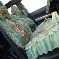 Universal Fit Women Green Lace Skirt Car Seat Cuhion Cover Full Set 5 Seats Cover And