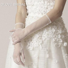 Elegant Sheer Tulle Gloves Wedding Bridal Party Full Finger Elbow Photo Shooting Accessory Halloween
