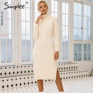 Image 1 - Simplee エレガントなサイドスプリット暖かい長袖女性ドレスタートルネックフィット秋冬のセータードレス白のドレス 2018
