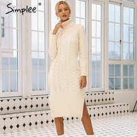 Simplee Elegant side split warm long sleeve women dress Turtleneck fit autumn winter sweater dress White dresses fashion 2018