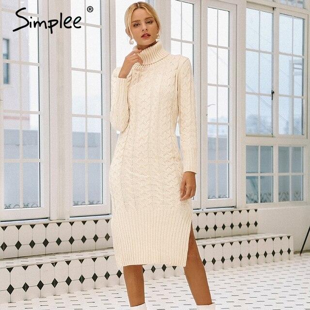 Simplee Elegante side split caldo manica lunga delle donne del vestito A Collo Alto fit autunno maglione di inverno del vestito Bianco abiti di moda 2018