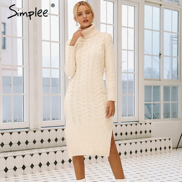 Simplee אלגנטי צד פיצול חם ארוך שרוול נשים שמלת גולף fit סתיו חורף סוודר שמלה לבן שמלות אופנה 2018