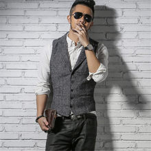21ff5d5172d 영국 Style Mens Retro Vest 한 벌 Men's Vest 양복 패션 신랑 웨딩 양복 남성 Slim