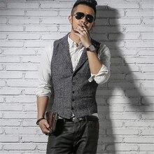 British Style Mens Retro Vest Suit Men's Vest Waistcoat Fashion Groom Wedding Waistcoat Male Slim Fit Dress Vests A996