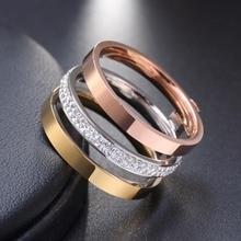 Zircon Crystal Titanium Stainless Steel Rings