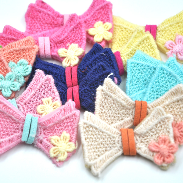 ộ_ộ ༽20 unids tejido crochet flores arcos Appliques deco del ...