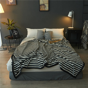 Home Textiles Striped Flannel Fleece Blankets for Beds Weighted Sofa Throw Blanket 200*230cm Plaids Bedspread Cobijas para cama