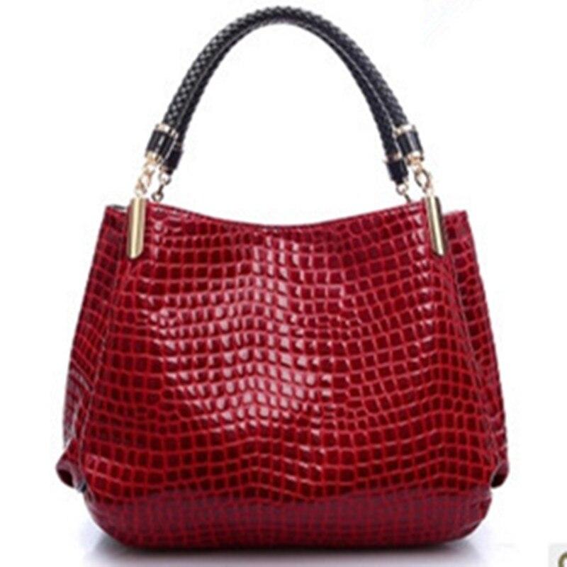 New Popular 2017 Alligator Pu Leather Women Handbag Fashion Women Famous Shoulder 3 Color Bags Black Red Blue Bag Ladies F005