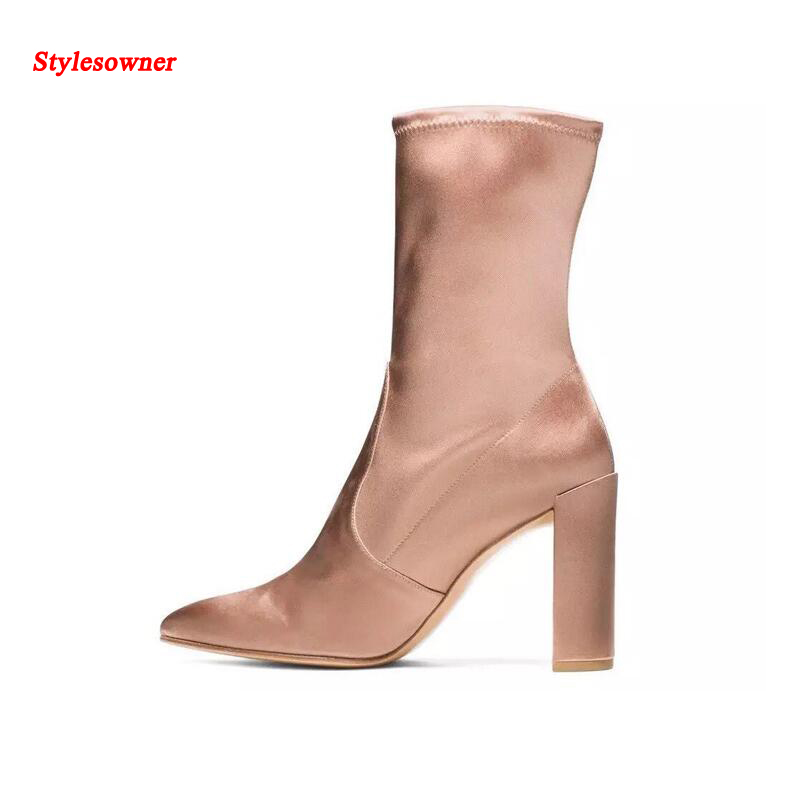 Stylesowner Fashion Designer Botas Mujer 2017 Slip On Womens Shoes Pointed Toe Satin Chunky Heel Stretch Tide Nude Boots womens high boots vogue side zipper botas invierno mujer fashion buckle block chunky heel sapatos mulher suede size us 4 10 5