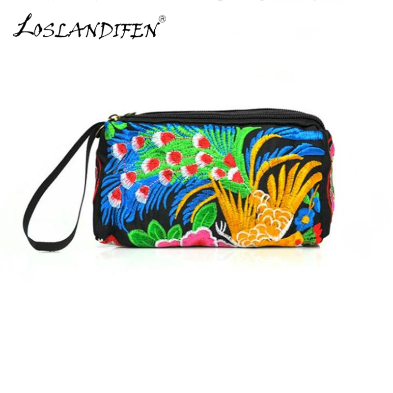 Chinese style double-sided embroidery clutch 3 zipper purse ethnic embroidery Peacock peony women bags female embroidered bag ethnic embroidered black cami dress for women