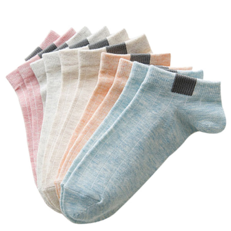 Urgot 5 Pairs Women Comfortable Stripe Cotton Socks Women Slippers Short Ankle Socks In Five Color High Quality New Fashion 2019