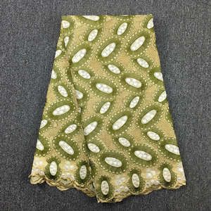 Image 2 - High Quality Swiss Voile Lace army green olive 2019 latest African Lace Cotton lace Fabric for wedding dress 5yards 062