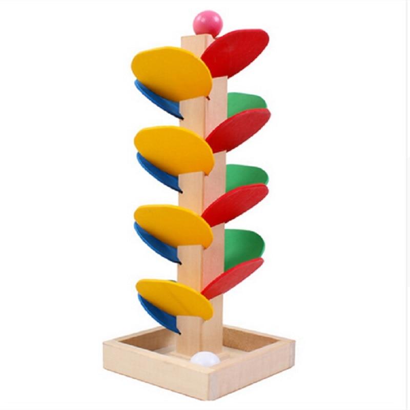 Humoristisch Houten Boom Marmer Bal Run Spoor Game Montessori Baby Kids Blokken Model Gebouw Houten Speelgoed Kinderen Educatief Speelgoed Kerstcadeau