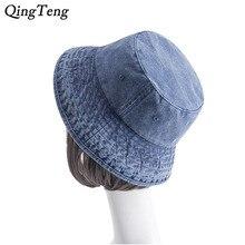 1504942c38bb54 Washed Cowboy Cotton Bucket Hat Outdoor Fishing Caps Panama Men Women Bob Polo  Sun Hat Casual