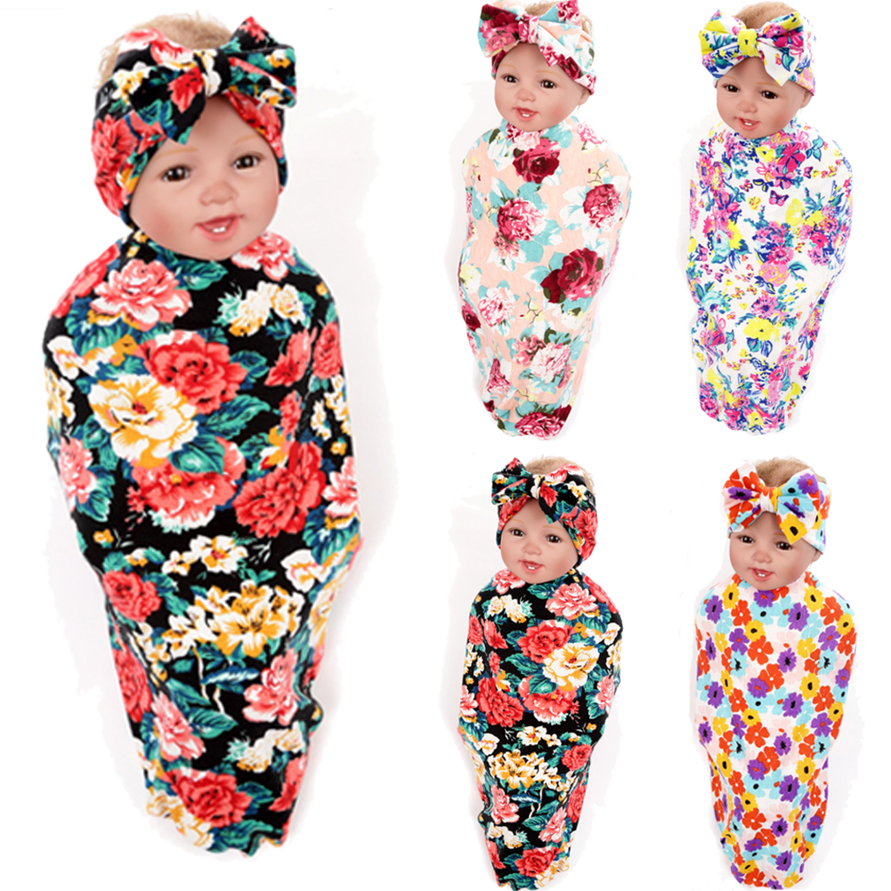 Newborn Kids Swaddle Sleeping Bags Muslin Cotton Blend Floral Soft Blanket Wrap Towel 0-1years
