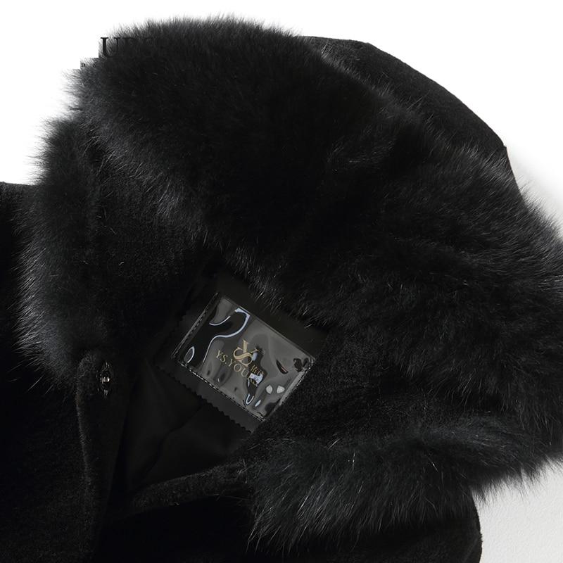 Hiver Femmes Capuche noir Mouton Fourrure Véritable De Veste Renard Laine Rouge Femme Manteau Z859 Automne Nouveau À wqz7a48x