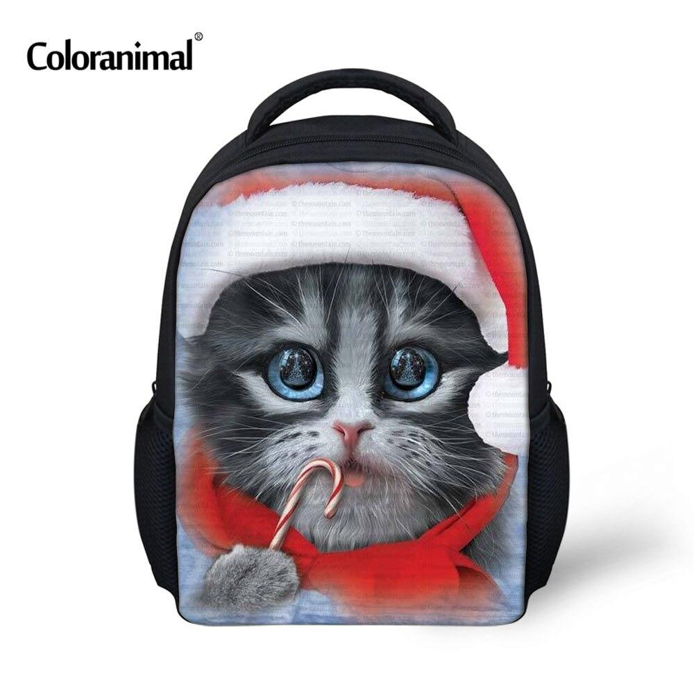 Coloranimal Kindergarten Daily Shoulder Schoolbags 3D Cute Animal Cats Printed Children Mini Book Bags Mochila Kids Backpack