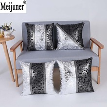 Meijuner Vintage Black Silver Цветочный чехол для подушки Обложка для автомобильного дивана Украшение наволочки Главная Декоративная подушка