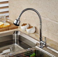 Spring Pull Down Kitchen Sink Faucet Deck Mounted Mixer Tap Chrome Finished