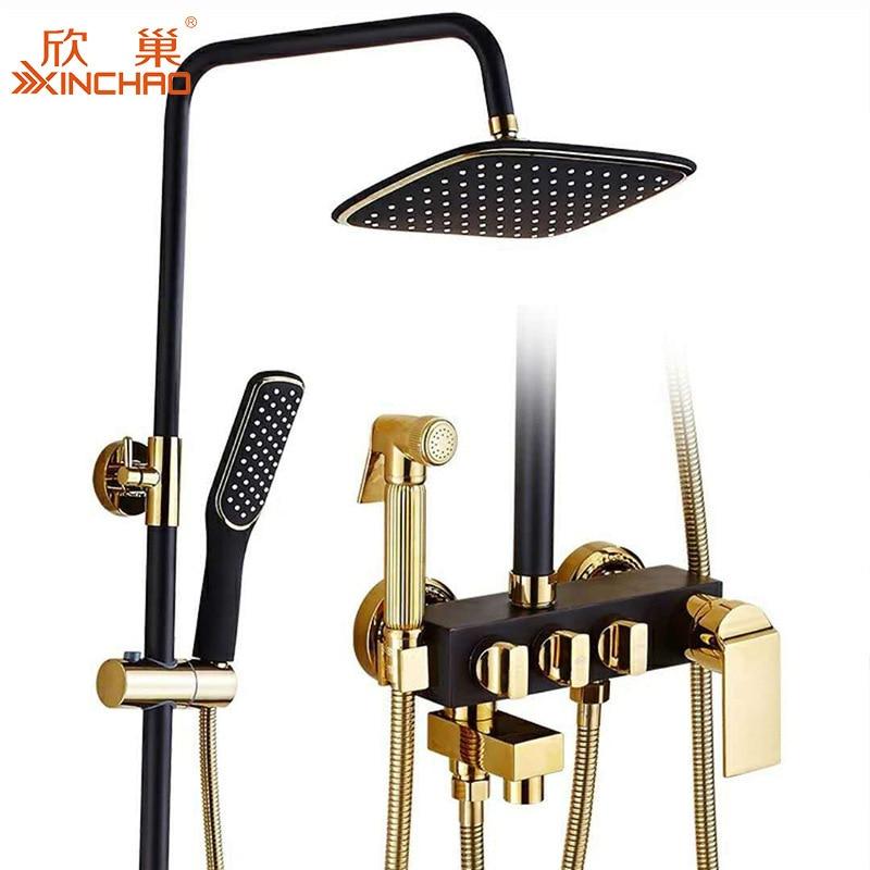 Europe brass vintage bathroom shower set rain shower system luxury bathroom black gold bathroom set dropshipping