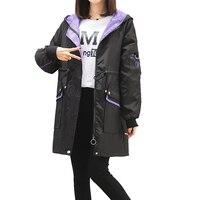 2019 spring autumn hooded trench coat for women medium long loose letter coats ladies bf baseball uniform female windbreaker