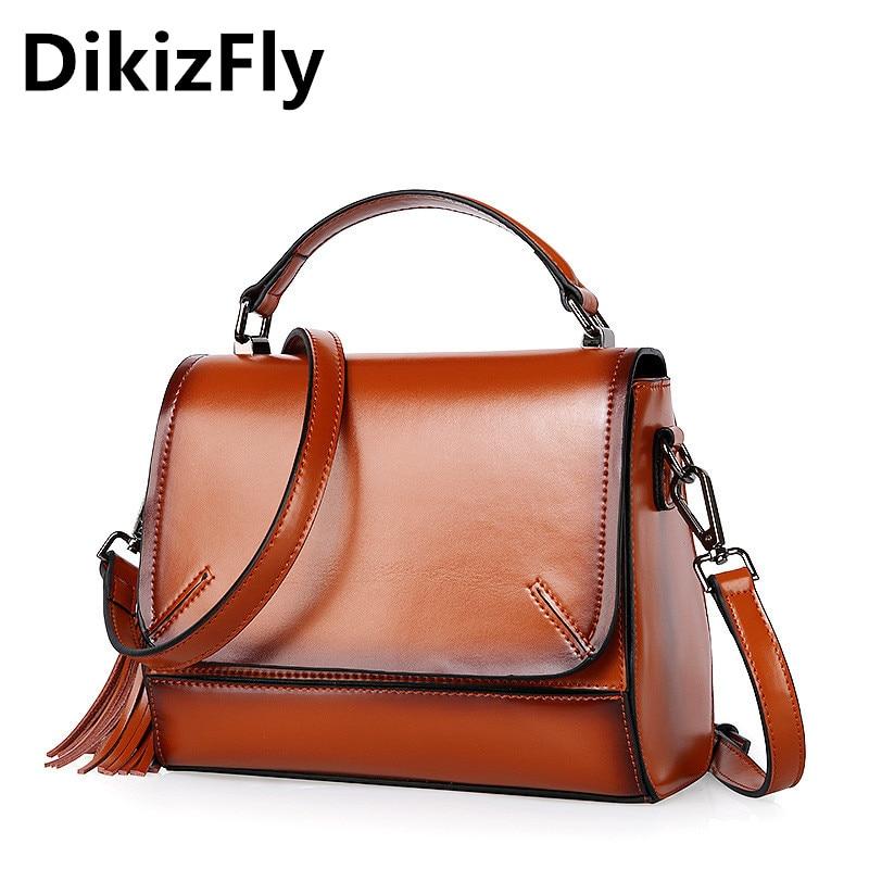 DikizFly Brand Designer 2017 Women's Genuine Leather Vintage Totes Fashion Shoulder Bag Women Crossbody Bags Handbags For Ladies