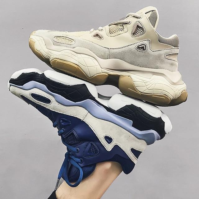 Erkek Spor Ayakkabı Hakiki Deri Eski Ayakkabı Kalın Alt koşu ayakkabıları Erkekler için Nefes Spor Spor Ayakkabı Açık yürüyüş ayakkabısı