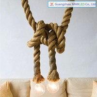 RH Vintage Loft Hemp Rope Pendant Lights Industrial Edison Lamp American Style 2 5m Double Singe