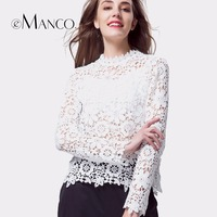 E Manco 2017 Spring New Women Solid Color Sexy Hollow Flower Tops Long Sleeve Clothing