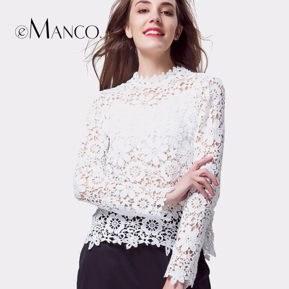 e-Manco white t-shirt women long sleeve summer lace tops sexy elegant hollow out flower Top tees casual slim o-neck clothes sexy slim t shirt women off shoulder cropped top harajuku flower print shirt top bandage long sleeve tee flare sleeve t shirt